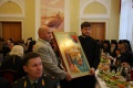 The Icon of the founder of the Nikolo-Korelsky monastery Reverend Euphemy and Saint patrons of the t